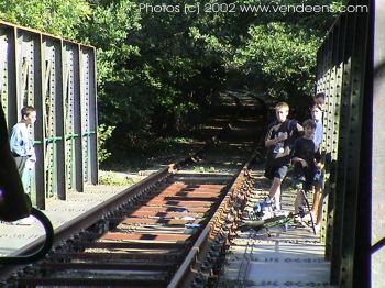 Vélo rail sur le pont